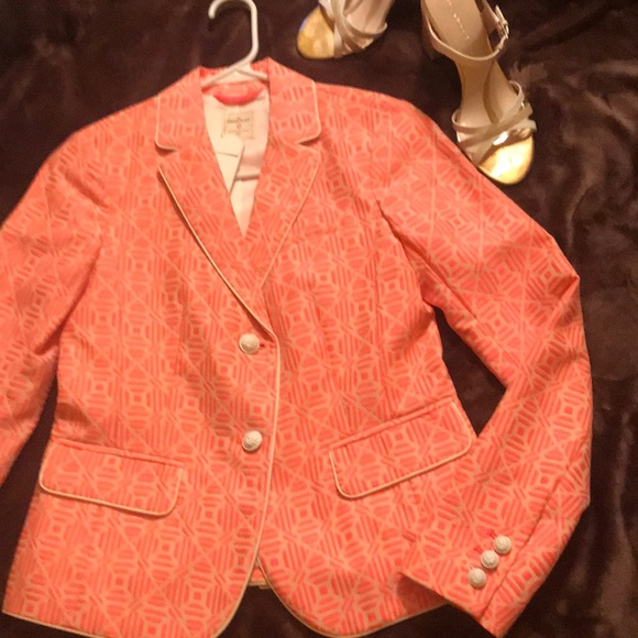 GAP Jackets & Blazers - GAP-Fitted Bright Pink/Cream Print Blazer🆕 W/tags